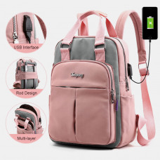 Women Canvas Multifunction Waterproof Casual Patchwork Backpack With USB Charging Port