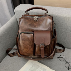 Women Vintage Faux Leather Multi-Pocket Multifunctional Backpack Crossbody Bag