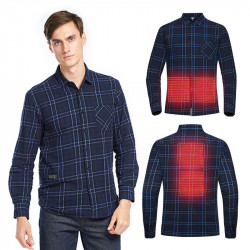 TENGOO USB Electric Charging Heating Plaid Shirt Plus Velvet Long Sleeve T-shirts