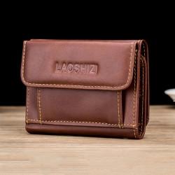 Men Genuine Leather Vintage Retro RFID Blocking Anti-Theft Wallet