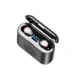F9 2 In 1 Mini Digital Display bluetooth 5.0 Headphones IPX7 Wireless Stereo Earphone with Speaker Charging Box