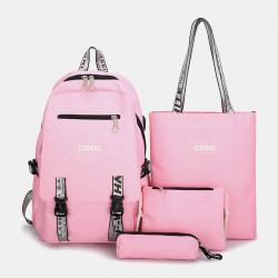 Women 4PCS Backapck USB Charging Solid Multifunction School Bag