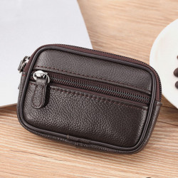 Men Genuine Leather Vinatge Simple Small Belt Bag Waist Bag