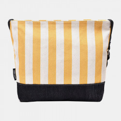 Women Large Capacity Striped Casual Canvas Crossbody Bag Shoulder Bag