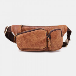 Men Genuine Leather Vinatge Multi-Pocket Chest Bag Shoulder Bag Waist Bag