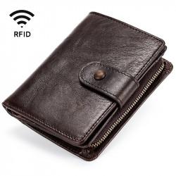 Men Vintage Genuine Leather RFID Blocking Wallet Zipper Coin Bag