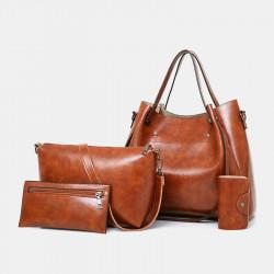 Women 4Pcs Vintage Handbag Crossbody Bag Solid Shoulder Bag