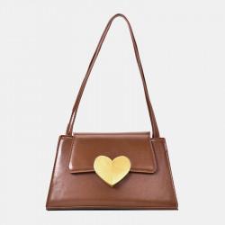 Women Heart-shaped PU Casual Shoulder Bag Handbag
