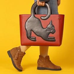 Women Multifunctional Large Capacity Cat Pattern Handbag Crossbody Bag