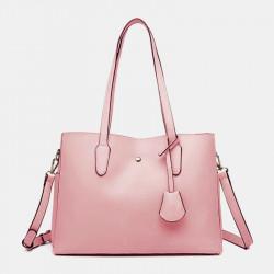 Women Large Capacity Solid Tote Crossbody Bag Handbag