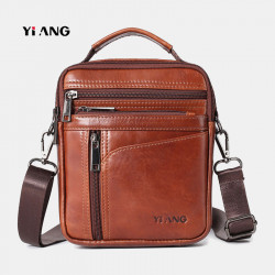 Men Small Genuine Leather Large Capacity Shoulder Bag Crossbody Bag