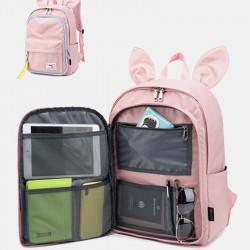 Women Multifunctional Light Weight Backpack Rabbit Large Capacity Solid School Bag