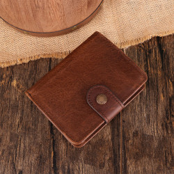 Men Genuine Leather Vintage Retro RFID Blocking Anti-theft Zipper Coin Wallet