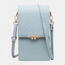 Women 4 Card Slots Solid Phone Bag Crossbody Bag Shoulder Bag