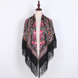 Ethnic Twill Cotton Fringed Square Scarf  Retro Shawl Print Scarf