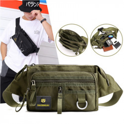 Men Fashion Multi-Layer Anti-theft Pockets Personal Cash Register Chest Bag Waist Bag Shoulder Bag