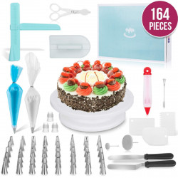 164PCS Cake Shovel Decorating Turntable Cake Making Braking Icing nozzles Mould Spatula Bags Tools Set Kit Multi-color Stainless Steel