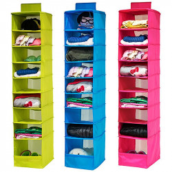 9 Shelves Hanging Closet Wardrobe Clothes Rack Storage Organizer Bag Blanket