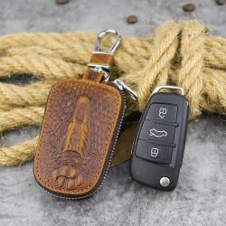 Men Genuine Leather Vintage Manufacturers Embossed Car Key Case Bag