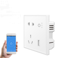Bakeey Tuya Smart Wifi Power Outlet Plugs Alexa Voice Control 86 Remote Control Timing Smart Switch For Smart Home Work With Google Home IFTTT