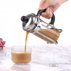 350ML Glass Blunt French Press Coffee Maker Machine Kettle Pot with Stainless Steel Coffee Plunger Hollow Espresso Maker Coffee Pot