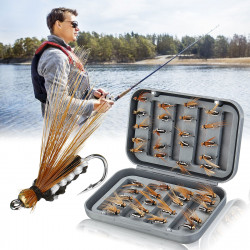 ZANLURE 40 Pcs Flies Fishing Lure Portable Fishing Baits Tackle With Storage Box