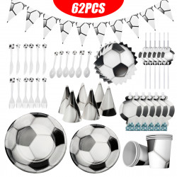 62pcs Football Plate Napkin Cups Tablecloth Tableware Kids Birthday Party Decorations