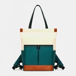 Women Multifunction Patchwork School Bag Waterproof Travel Backpack