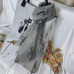 Hot Sale Womens Spring Scarf Cats Pattern Design Bali Yarn Scarves