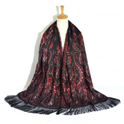 Retro Ethnic Style Print Tassel Long Scarf Ladies Russian Scarf