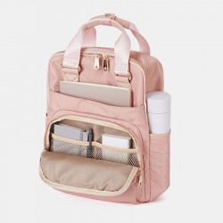 Women Nylon Waterproof Light Weight Solid Bag Multifunction Backpack