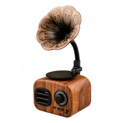FT-BT05 Mini Portable Retro bluetooth Wooden Speaker Wireless Gramophone Handsfree Speaker With TF Slot FM Radio
