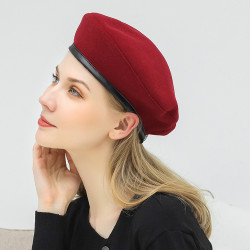 Woolen Beret Caps Wild Casual Drawstring Adjustable Painter Hat