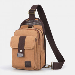 Men Vinatge Anti-theft Canvas Chest Bag Shoulder Bag Crossbody Bag
