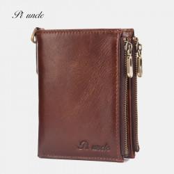 Men Genuine Leather RFID Blocking 6 Card Slots Zipper Coin Wallet