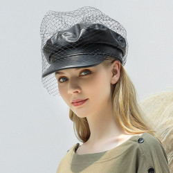 Mesh Faux Leather Beret Literary Wild Octagonal Hat Military Army Cap Flat Hats
