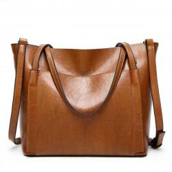 Women Oil Wax Leather Large Handbag Shoulder Girl Travel Bag Messenger Tote