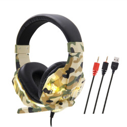 Soyto SY830MV Camouflage Game Headphone USB+3.5mm Wired Bass Gaming Headset Stereo Earphone Headphones with Microphone for Computer PC Gamer