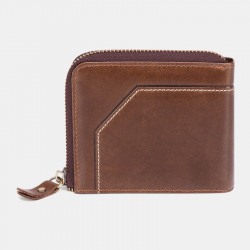 Men Genuine Leather Vintage Wallet RFID Blocking Zipper Coin Bag Card Holder