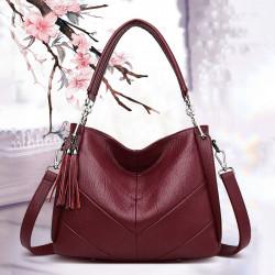 Women Large Capacity Solid Tassel Tote Bag Crossbody Bag Handbag