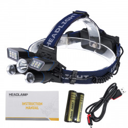 BIKIGHT TD118 2500LM 5LED Rechargeable White Red Blue Light LED Headlamp Headlight Head Torch Flashlight Work Light With 18650 Battery Kit
