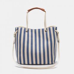Women Striped Casual Canvas Handbag Crossbody Bag