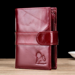 Men Vintage Genuine Leather Anti-theft Credit Card Wallet