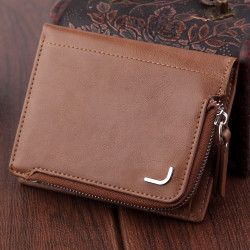 Men Vintage Faux Leather Multi-Function Zipper Bag Card Holder Wallet