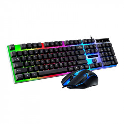 G21B 104 Key USB Wired Gaming Keyboard and Mouse Set RGB Backlight for Laptop Computer PC