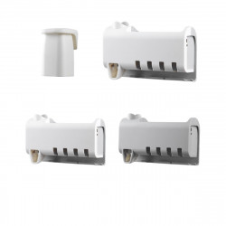 Automatic Toothpaste Dispenser 4 Toothbrush Holder Set No Punching Wall Mount Storage Rack