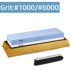 MYVIT 2 In 1 Cutter Sharpener Whetstone Sharpen Stone Grinding Stone System Water Stone Honing With Bamboo Holder