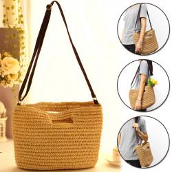 Straw Bag Handmade Shoulder Basket Bag Straw Summer Straw Beach Shopping Tote