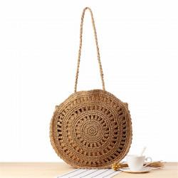 Fashion Women Woven Handbag Round Rattan Straw Shoulder Bag Summer Beach Purse