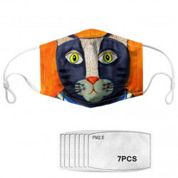 Cartoon Animal Printing Dustproof Anti-fog Washable Breathable Mask PM2.5 7-piece Gasket